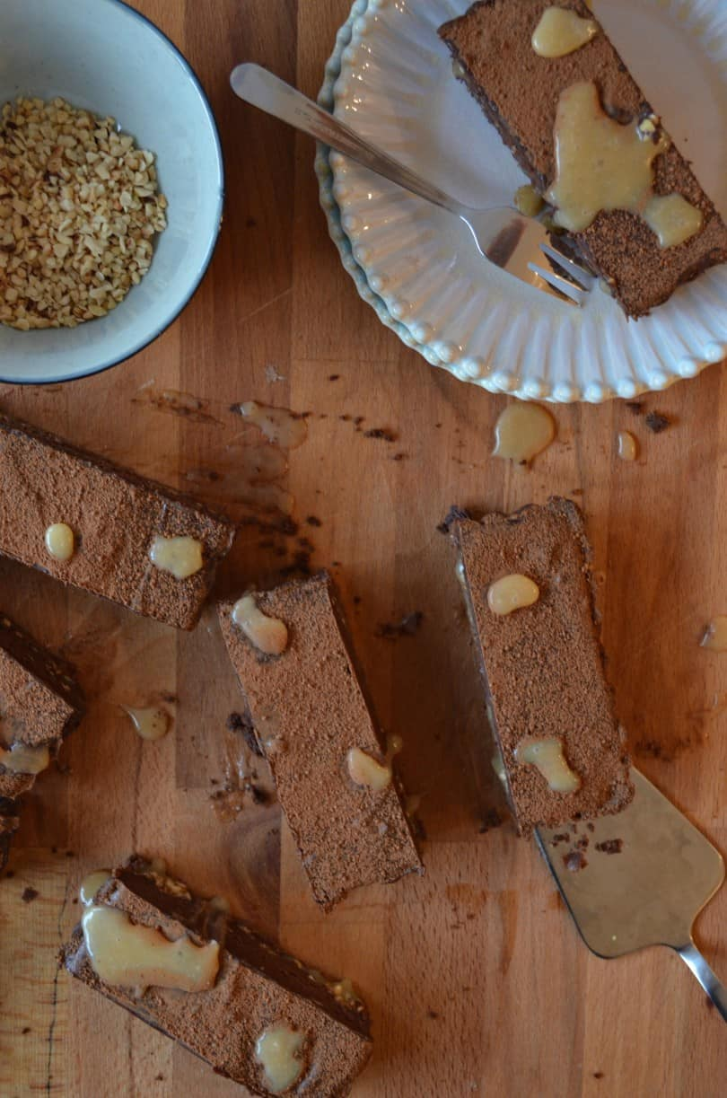 chocolate, hazelnut and salted caramel tart