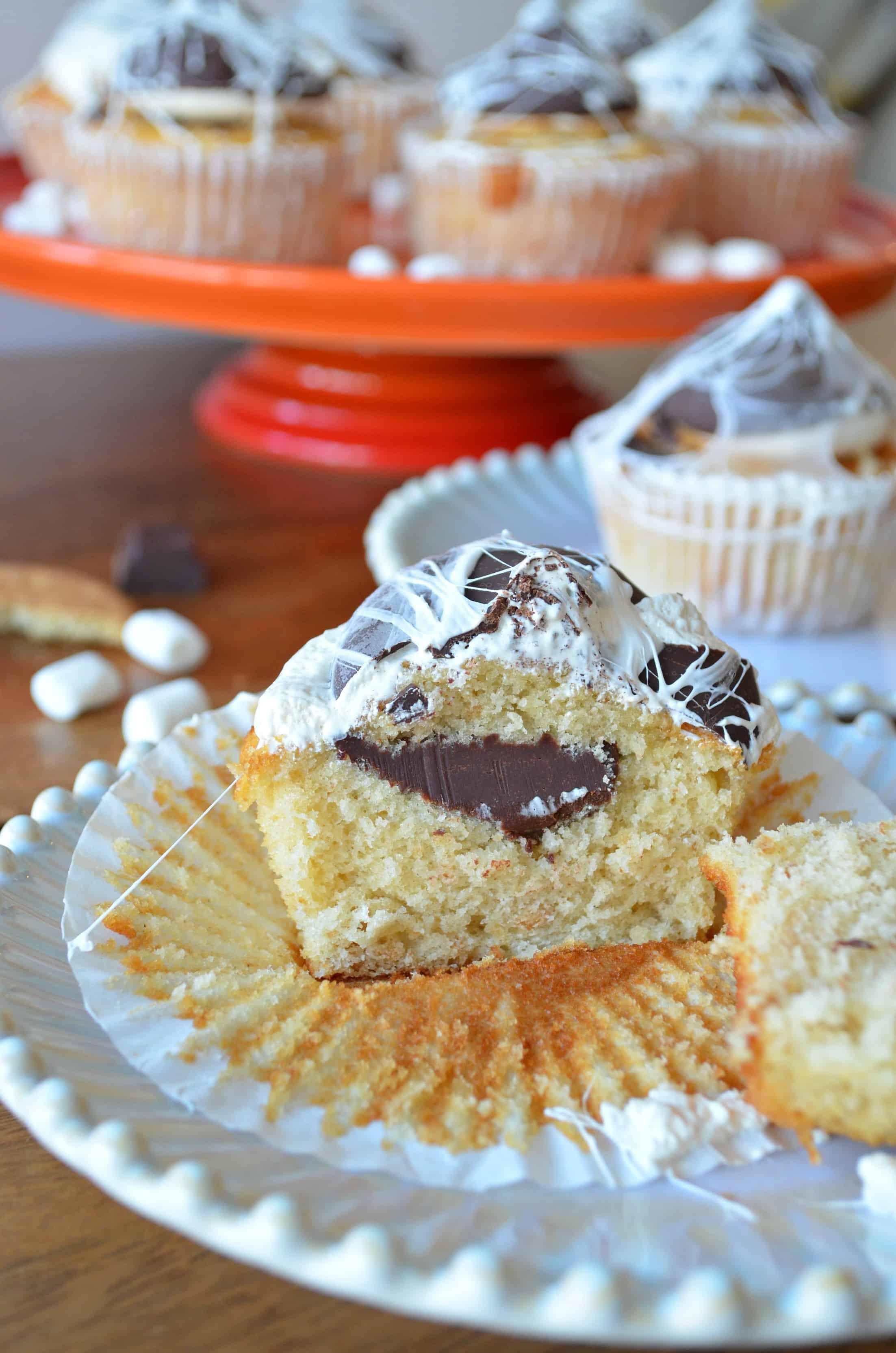 spooky spiderweb smores cupcakes