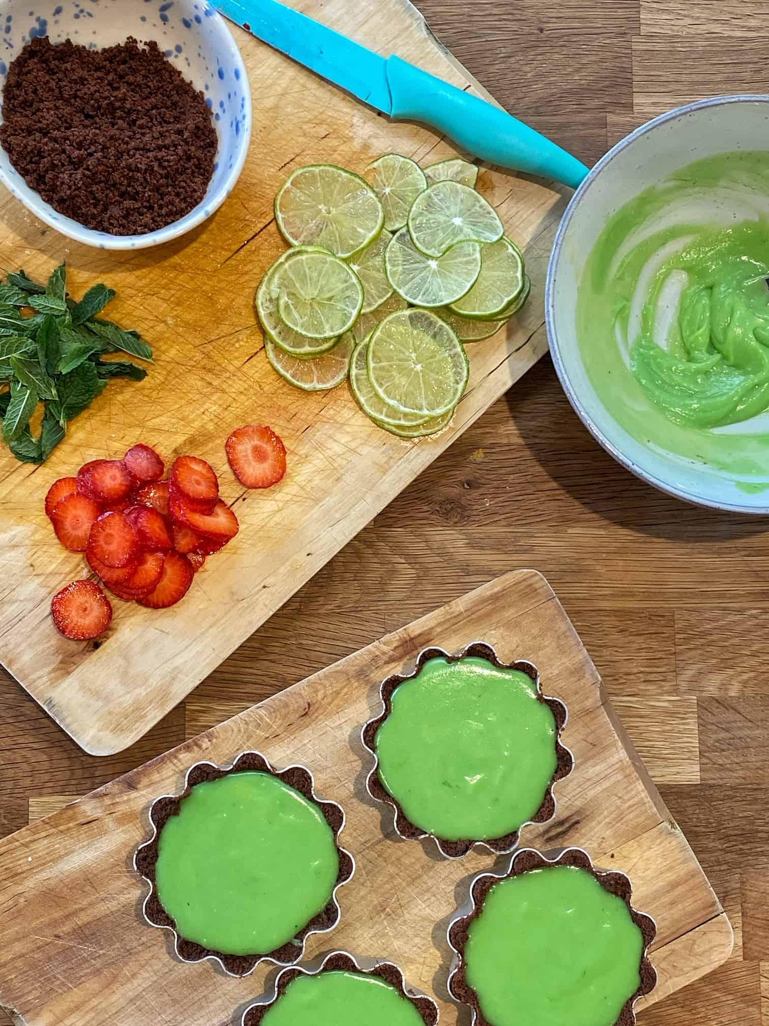 chocolate lime tarts