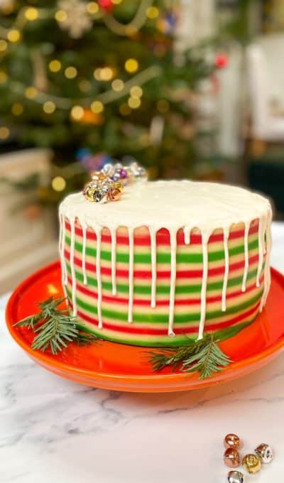 Ginger & Lemon Striped Christmas Cake