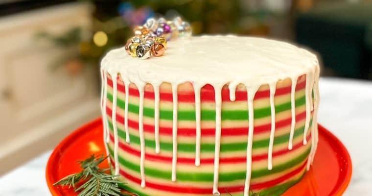 Ginger & Lemon Striped Christmas Cake