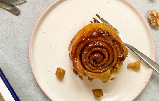 Vegan Pear, Walnut & Caramel Sticky Brioche Buns
