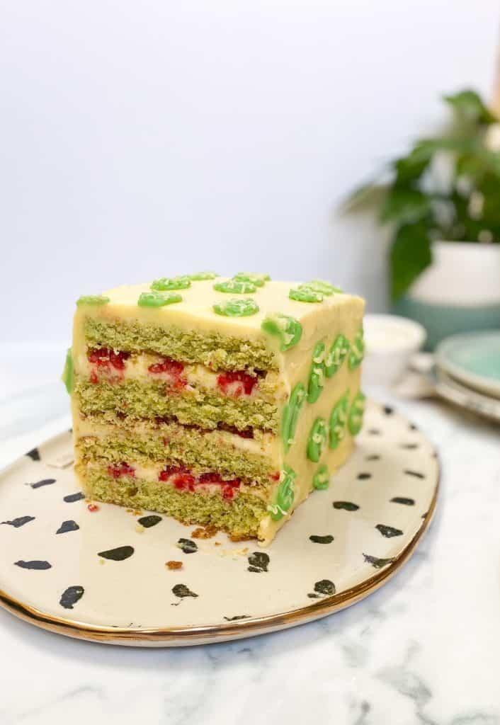 cake cut in half on platter