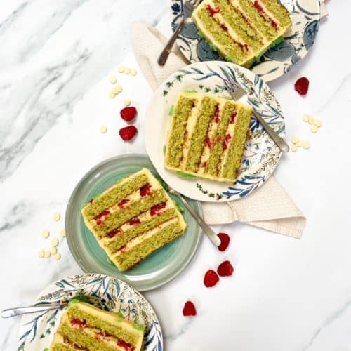 raspberry pistachio white chocolate cake