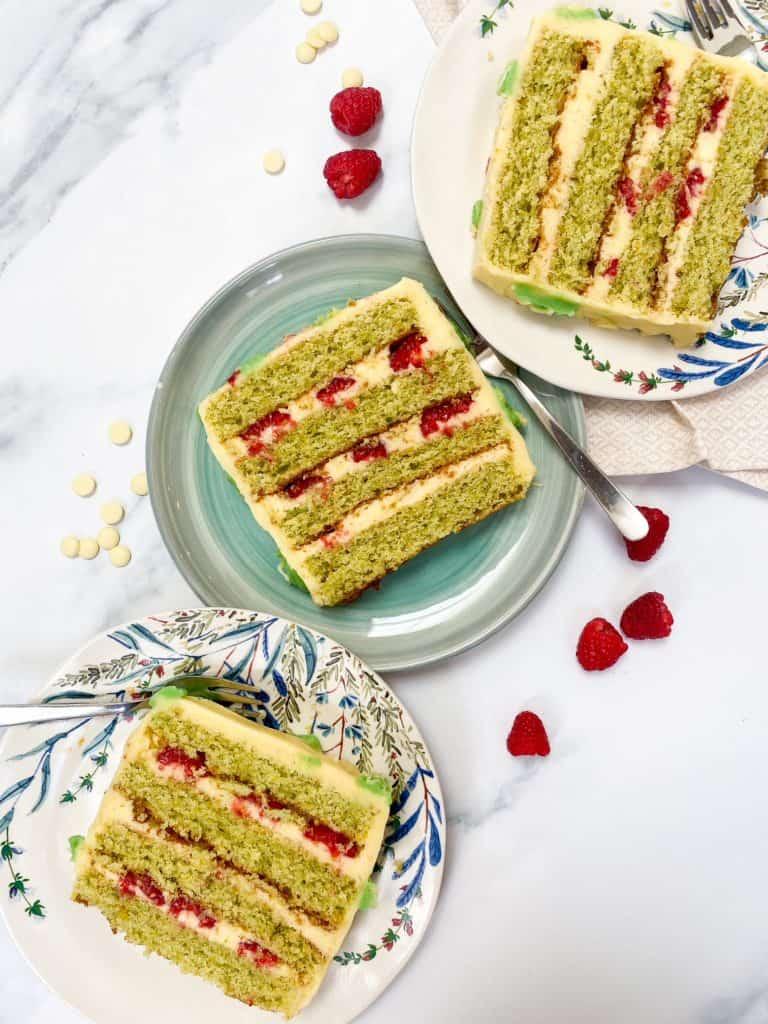 raspberry pistachio white chocolate cake slices
