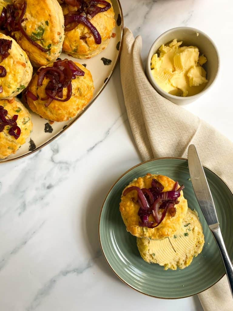 welsh rarebit scones on plate with butter
