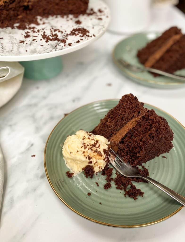 double chocolate cake slice with ice cream