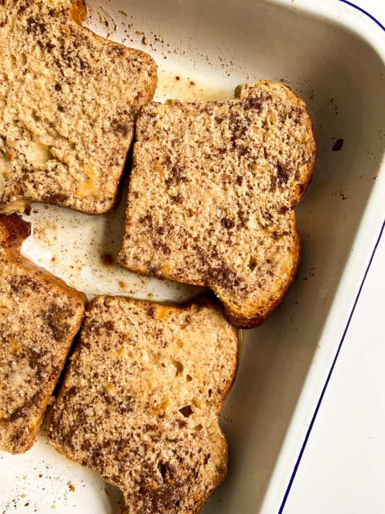 soaked brioche slices for french toast