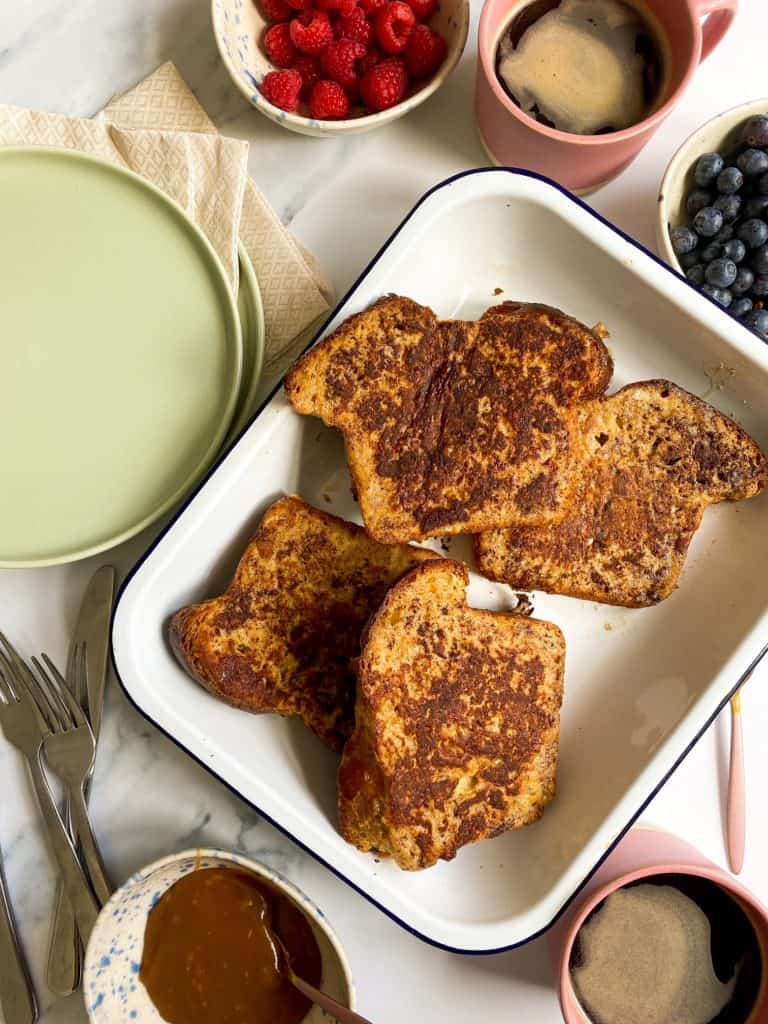 cooked brioche french toast slices