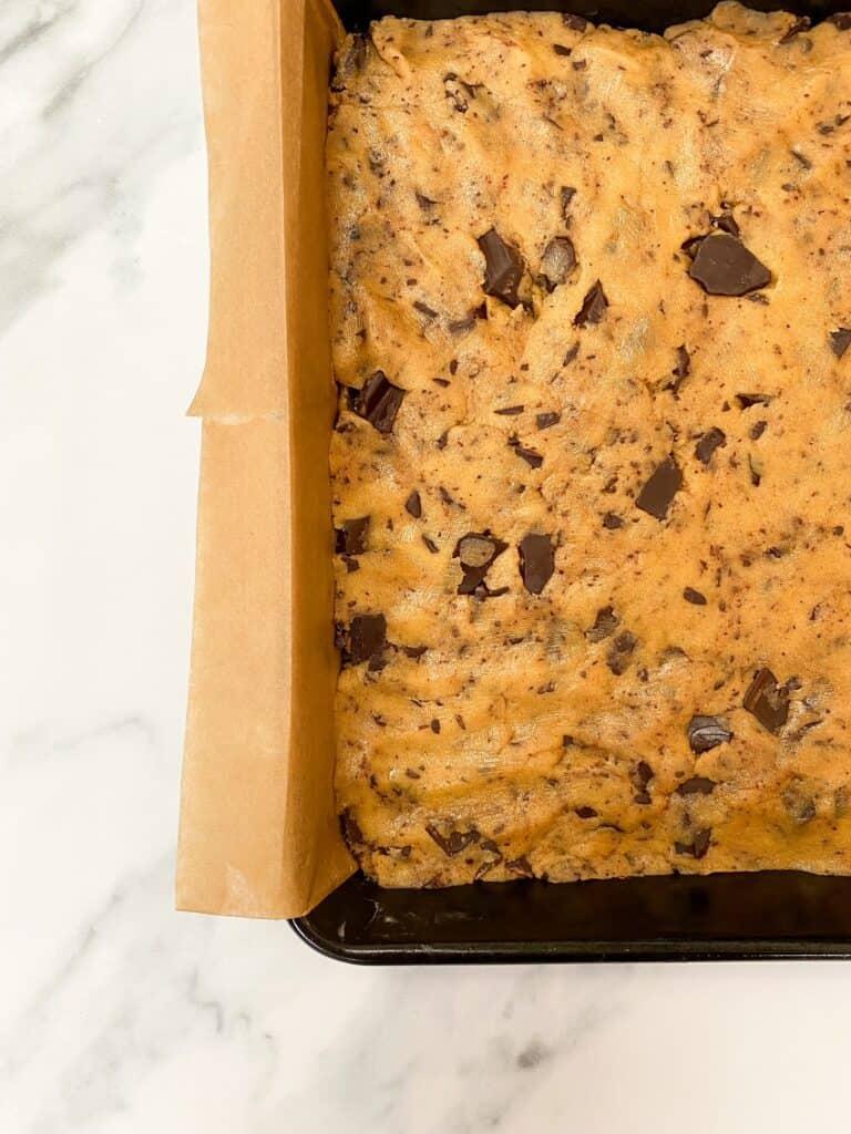 cookie dough in tin