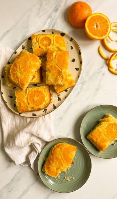 Orange Upside Down Traybake Cake
