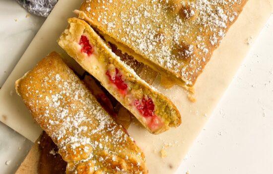 Pistachio, Raspberry and Crème Patissiere  Tart