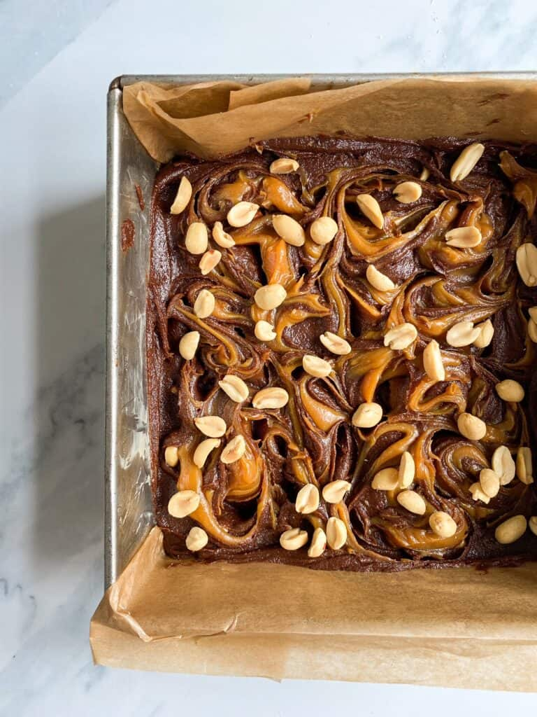 easy snickers style brownies