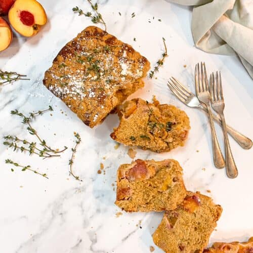 peach cobbler loaf cake