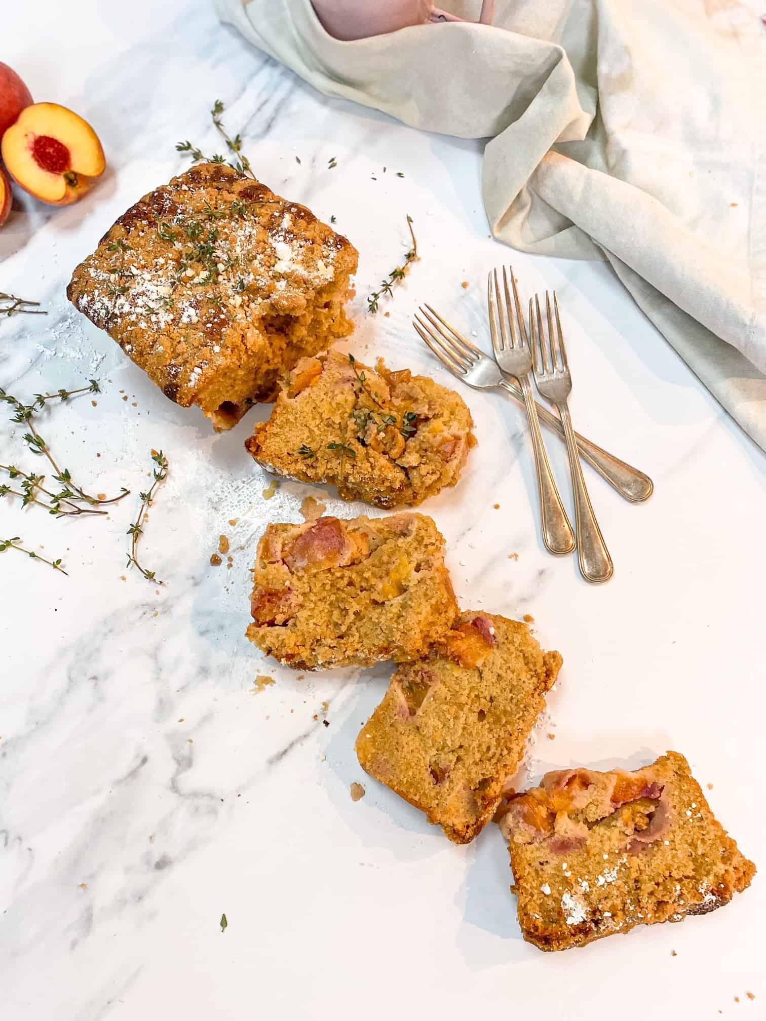 peach crumble loaf cake